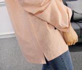 2017人の新しい綿のCollarless方法余暇の女性ワイシャツのTシャツ