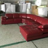 Кровать софы роскошной домашней мебели красная обитая кожаный
