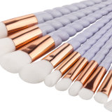 10PCS 직업적인 메이크업 장식용 솔 세트 다채로운 분말 기초는 솔 Eyesgadow 눈썹 입술 마스카라 적면한다