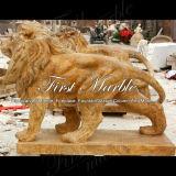 León de oro Ma-490 del calcio de la estatua animal de piedra de mármol del granito