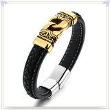 De Armband van het Leer van de Juwelen van het Leer van de Armband van het roestvrij staal (LB640)