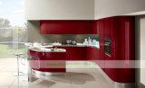 Roter Lack-Küche-Schrank mit modernem gebogenem Stab (WH-D933)