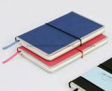 Cuaderno de encargo con el marco del metal y la fuente de oficina de la venda de Elastice