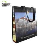 선전용 슈퍼마켓 식료품류 PP 비 길쌈된 물색 끈달린 가방
