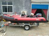 セリウム4.3mのガラス繊維のHul Rigidlの膨脹可能なボートが付いている14FT Rib420c Recsueのボート