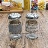 Preço da fábrica por atacado New Design Stainless Steel Lid Spice Glass Jar (100103)