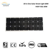 CE RoHS IP65 60W Solar Street Light de Dimmable Motion Sensor com Lithium Battery Backup