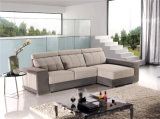 Sofá de la tela con L dimensión de una variable que resbala los muebles