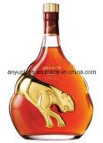 Botella estupenda redonda vacía al por mayor de Xo del brandy del whisky del vidrio de pedernal para el vino, licor