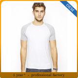 T-shirt de chemise de Raglan de base-ball de coton de la qualité des hommes