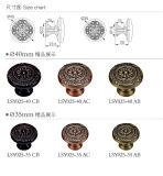Punho de mão e botão de gaveta de latão sólido de estilo clássico