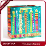 バースデー・ケーキの小さい紙袋の誕生日プレゼントはホログラムによって印刷されるギフトの紙袋を袋に入れる