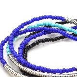 Braccialetti elastici del branello di stirata di Seedbead del nero blu del blu marino della Boemia impostati