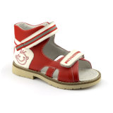 Chaussures correctives de pied plat d'enfant de cuir véritable avec le plein collier de coussin et la semelle intérieure orthopédique amovible