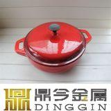 2つのディバイダが付いている赤いエナメルを塗られた鋳鉄の熱い鍋