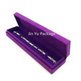 Caja de presentación púrpura del embalaje de la joyería del regalo del papel de la cartulina con la tela del ante