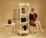 Mesa de exibição quadrada, rack de exibição de madeira