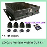 Дешево 4 система автомобиля DVR канала передвижная с камерой и карточкой SD