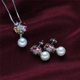 De kleurrijke Ronde Reeks van de Juwelen van de Parel van de Vorm van de Bloem Zilveren Natuurlijke Zoetwater Bruids