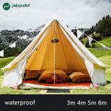 5m Glamping Luxuxbaumwollsegeltuch-Rundzelt-beige Farben-Familien-kampierendes Rundzelt mit Ofen-Loch