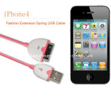 USB Cable de Spring Retractable da extensão para o iPhone 4