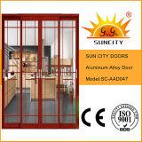 Interior de alumínio revestido das portas do vidro colorido do estilo chinês (SC-AAD043)