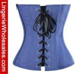 Corsetto senza bretelle di Overbust del retro del blu marino delle donne denim di stile con le caselle