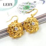 Jeu pendant de bijou de mode de collier de Rose de diamant Gold-Tone et d'alliage de boucles d'oreille