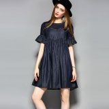 Blue Water-Drop Back Collar Sexy Women Dress with Beading