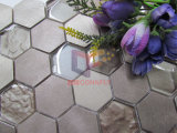 Смешивания цвета золота шестиугольника плитка мозаики светлого алюминиевого кристаллический (CFM1029)
