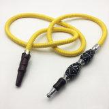 doppio tubo flessibile di Shisha del narghilé di colore giallo del metallo di disegno della zucca di 1.8m (ES-HH-009)
