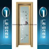 Puerta interior del marco de la puerta de aluminio de la casa con el panel de cristal decorativo