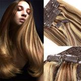 Extensão 100% brasileira do cabelo de Remy do Virgin do cabelo do grampo