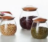 o armazenamento de vidro do frasco do armazenamento 1000ml pode com tampa de bambu