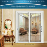 Porte coulissante s'arrêtante de modèle de Double couche d'aluminium intérieur en verre décoratif neuf de panneau