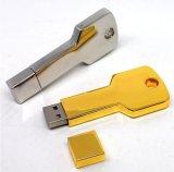 Movimentação chave 128MB 256bmb 512MB da pena do USB do ouro do metal (jys)