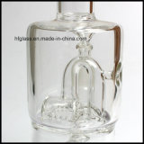 Vente en gros 10 pouces de Toro de pipe de fumage en verre pourprée avec le double barboteur micro de Perc