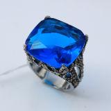 Retro Diseño Azul Grande CZ Diamante Anillo De Acero Inoxidable