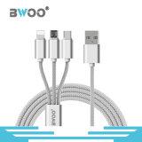 3 в 1 Типе-C кабеле молнии нейлона Braided микро- USB