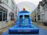 プールが付いている商業膨脹可能な水スライドは、販売のためのスライドをぬらした