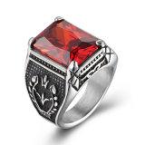 Juwelen van de Ring van de Band van de Mensen van de Schedel van het Roestvrij staal van het Titanium van de Saffieren van de manier de Uitstekende Retro Ingelegde