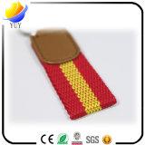 Poste promotionnel de cadeau de trousseau de clés de courroie de lanière tissé par cuir