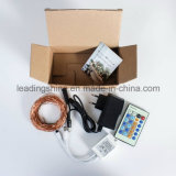 원격 어댑터는 따뜻한 화이트 구리 실버 LED 마이크로 LED 문자열 조명 운영