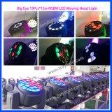 Iluminación LED 19PCS * 15W RGBW LED luz principal móvil
