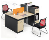 까만 현대 나무 2 Seater 책상 워크 스테이션