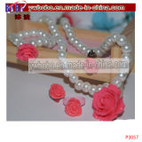 Girl Wedding Pearl Collier Boucles d'oreilles Bracelet Kids Jewelry Set (P3063)