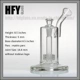 Vetro di Hfy 9 pollici di Mobius di tubo di acqua di vetro di fumo con la tabella Perc per la vasca di gorgogliamento dell'olio in azione