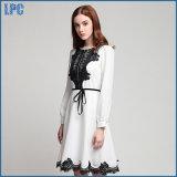 Blanco gasa costura vestido de moda de túnica de encaje