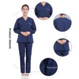 Uniformi 100% dell'ospedale del V-Collo del cotone con il breve manicotto