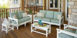 Modern Classical Ivory White Polywood Wooden Garden Sofá exterior para o Hotel Club Bar Deck